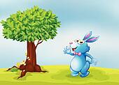 A blue bunny waving in front of a big tree