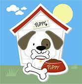 cute puppy and dog house cartoon