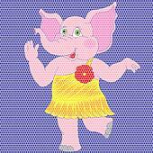 Mosaic image of pink elephant