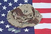 US stars and stripes with Camouflage Combat Hat and Dog Tags