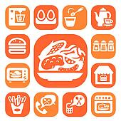 color food and kitchen icons