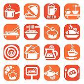 color food vector icon set