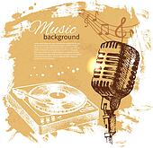 Music vintage background. Hand drawn illustration. Splash blob r