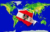 Fist in color  national flag of austria    punching world map