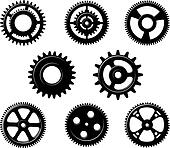 Set of metallic pinions and gears