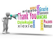 White human figure revealing thank you in different languages