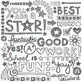 Great Work Praise School Doodles