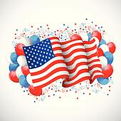 Colorful Balloon with American flag