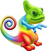 Rainbow chameleon mascot pointing