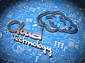 Cloud Background with Handwritten Characters.