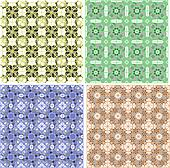 Seamless damask pattern. Flowers on a green background