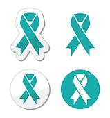 Teal ribbon ovarian cancer sign
