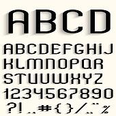 Black font with shadow, numbers and punctuation marks