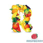Alphabet From Fruit. Letter R