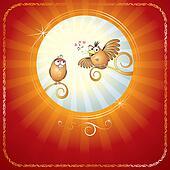 Birds in Love. Cartoon Illustration