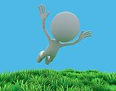 3d man levitating on field and blue