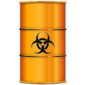 Orange barrel with bio hazard sign