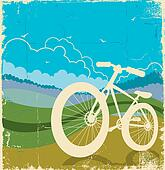 vintage nature background with bike on old paper texture