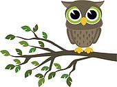cute wise owl cartoon