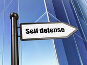Protection concept: Self Defense on Building background
