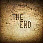 Old cinema phrase (The End...), grunge background