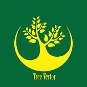 Concept vector graphic- yellow tree icon(symbol) green backgroun