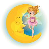 A fairy standing on a sleeping half moon