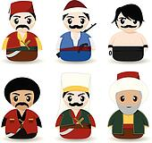 Ottoman cartoon people
