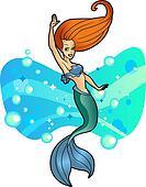 Beautiful Mermaid with Red Hair