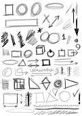 Set hand drawn shapes, line, circle