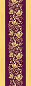 Purple wooden flowers vertical seamless pattern border