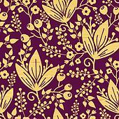 Purple wooden flowers seamless pattern background border