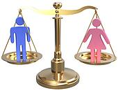 Gender equality sex justice 3D scales
