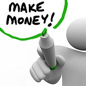 Make Money Man Writing Words Teaching Success to Get Rich