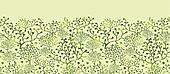 Textured Bushes Horizontal Seamless Pattern Background Border