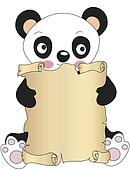 panda with parchment