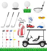 set golf icons illustration