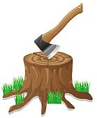 axe in the stump illustration