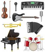 set icons of musical instruments illustration