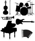 set icons silhouettes of musical instruments illustration
