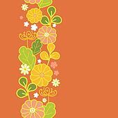Golden flowers vertical seamless pattern background border