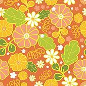 Golden flowers seamless pattern background