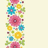 Colorful kimono flowers vertical seamless pattern border