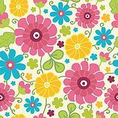 Colorful kimono flowers seamless pattern background