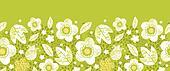 Green kimono florals horizontal seamless pattern border
