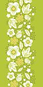 Green kimono florals vertical seamless pattern border