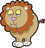 Lazy Lion Vector Illustration Art