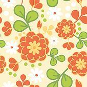 Orange kimono flowers seamless pattern background