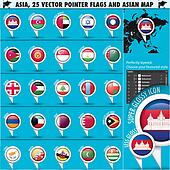 Asia Map and flags Pointer Icons set2