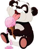 Panda eating ice cream